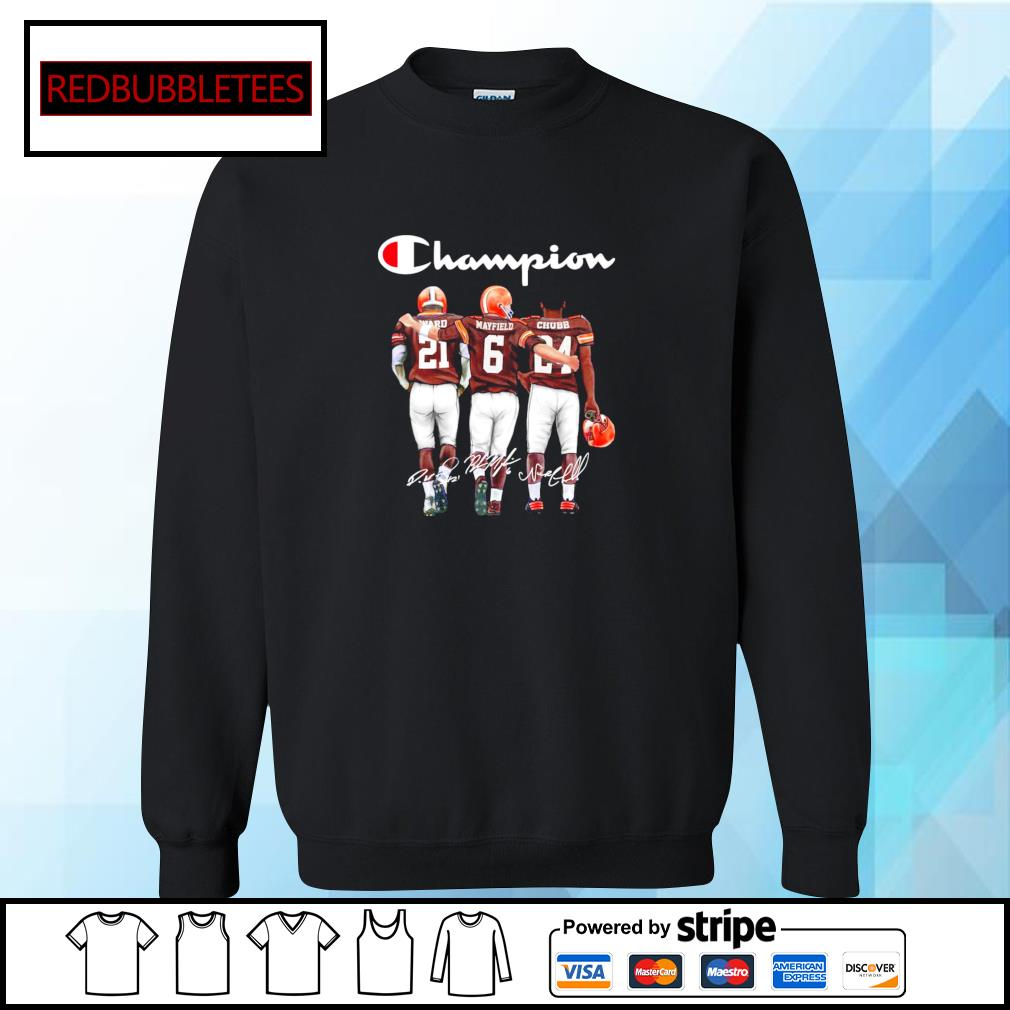 Cleveland Browns champion Ward Mayfield Chubb signature s Sweater