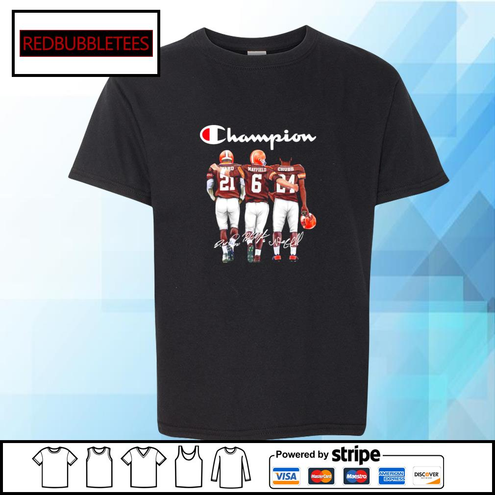 Cleveland Browns champion Ward Mayfield Chubb signature s Youth-tee