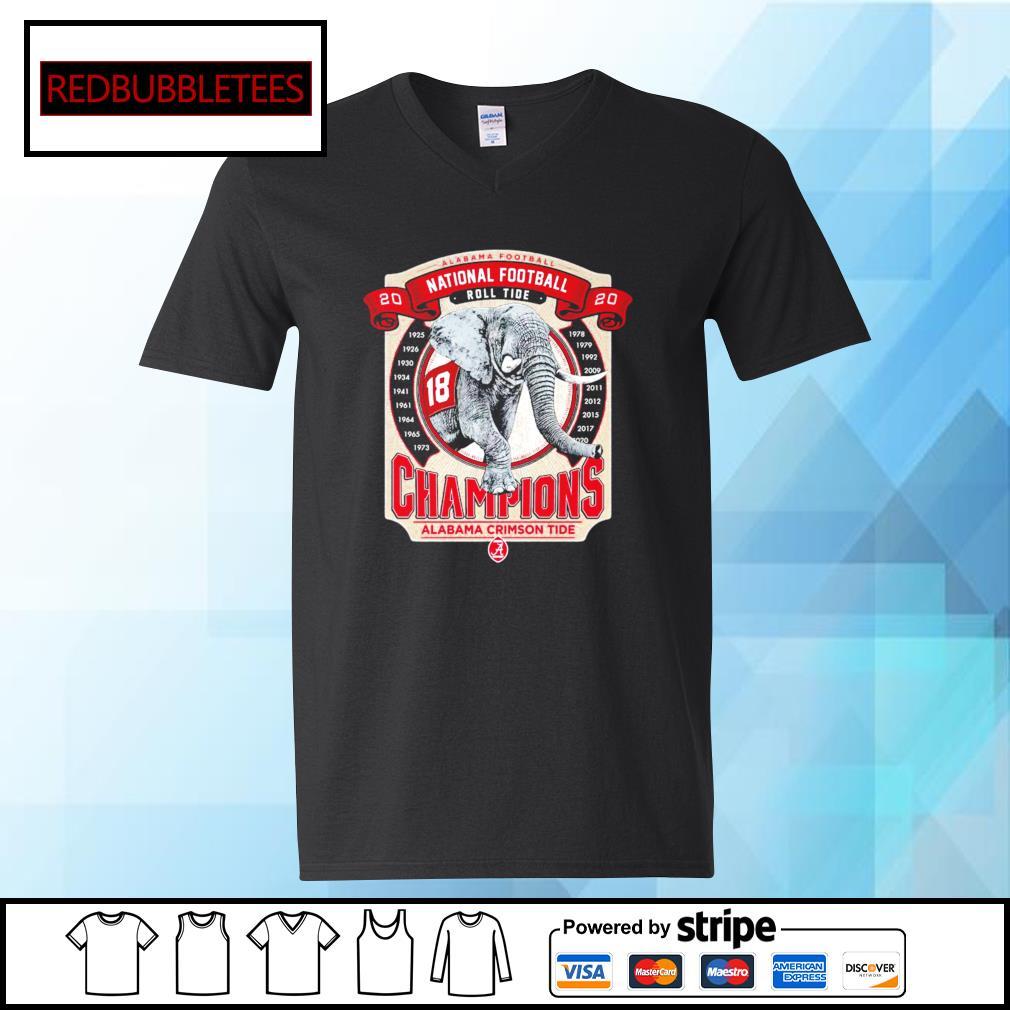 Elephant southeastern Champions Alabama Crimson Tide 2021 s V-neck T-shirt