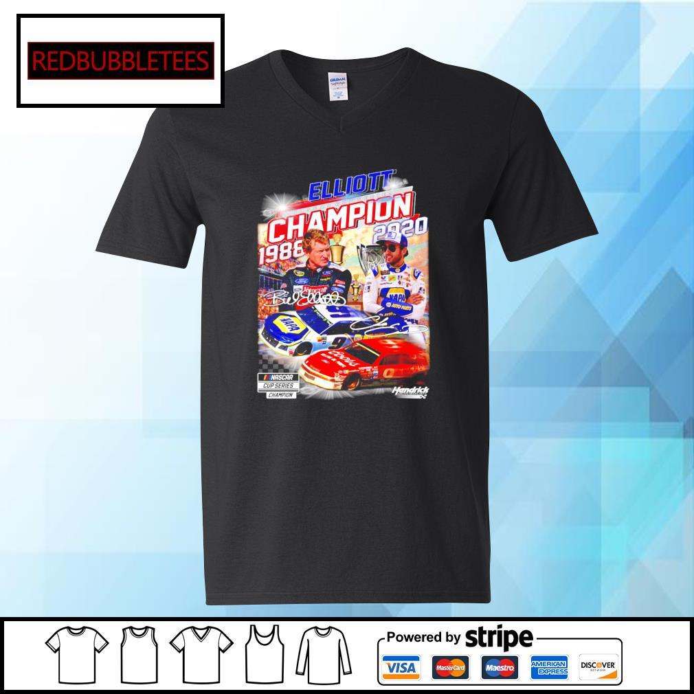 Elliott Nascar cup series champion 1988-2020 signature s V-neck T-shirt