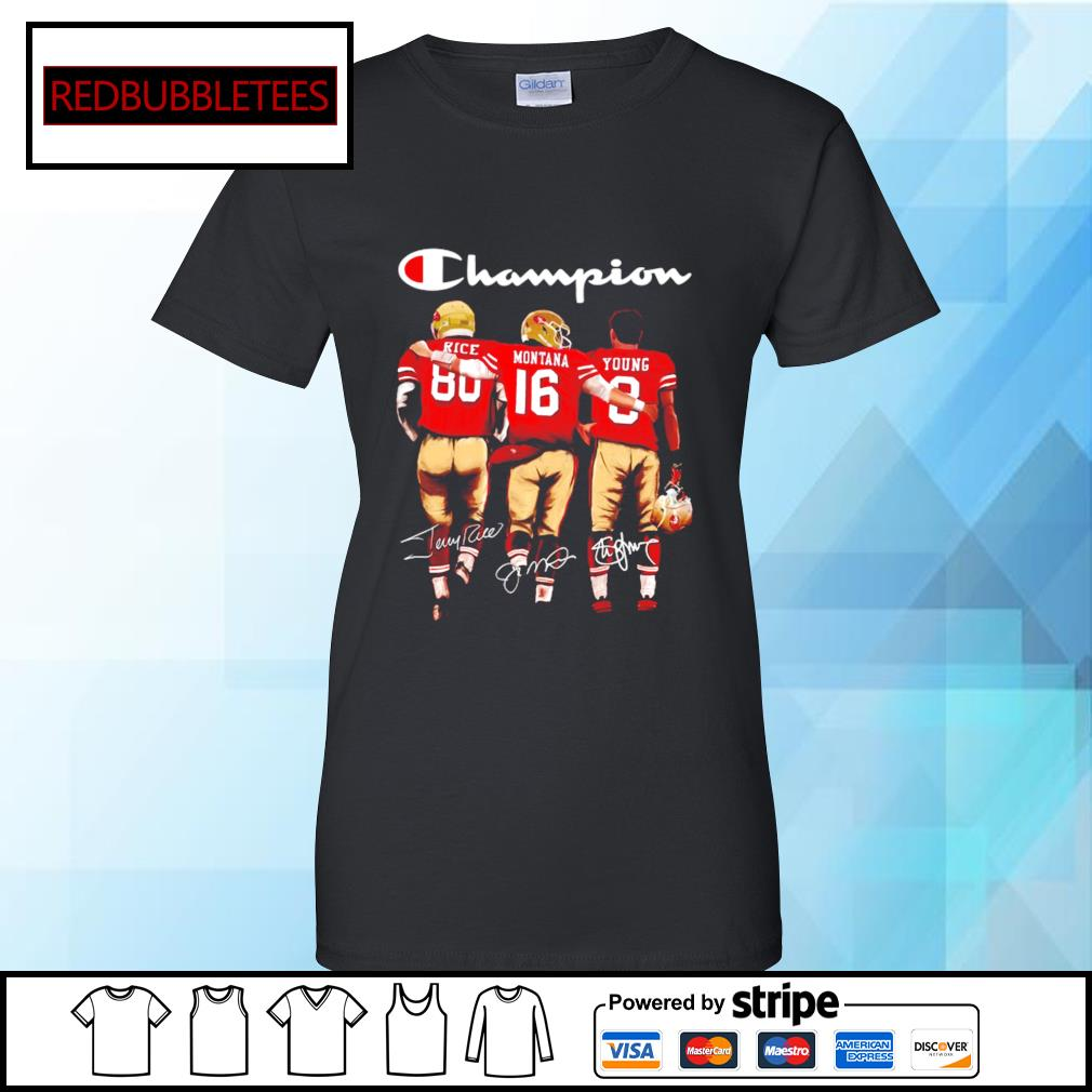 San Francisco 49ers Champion Rice Montana Young signatures s Ladies tee