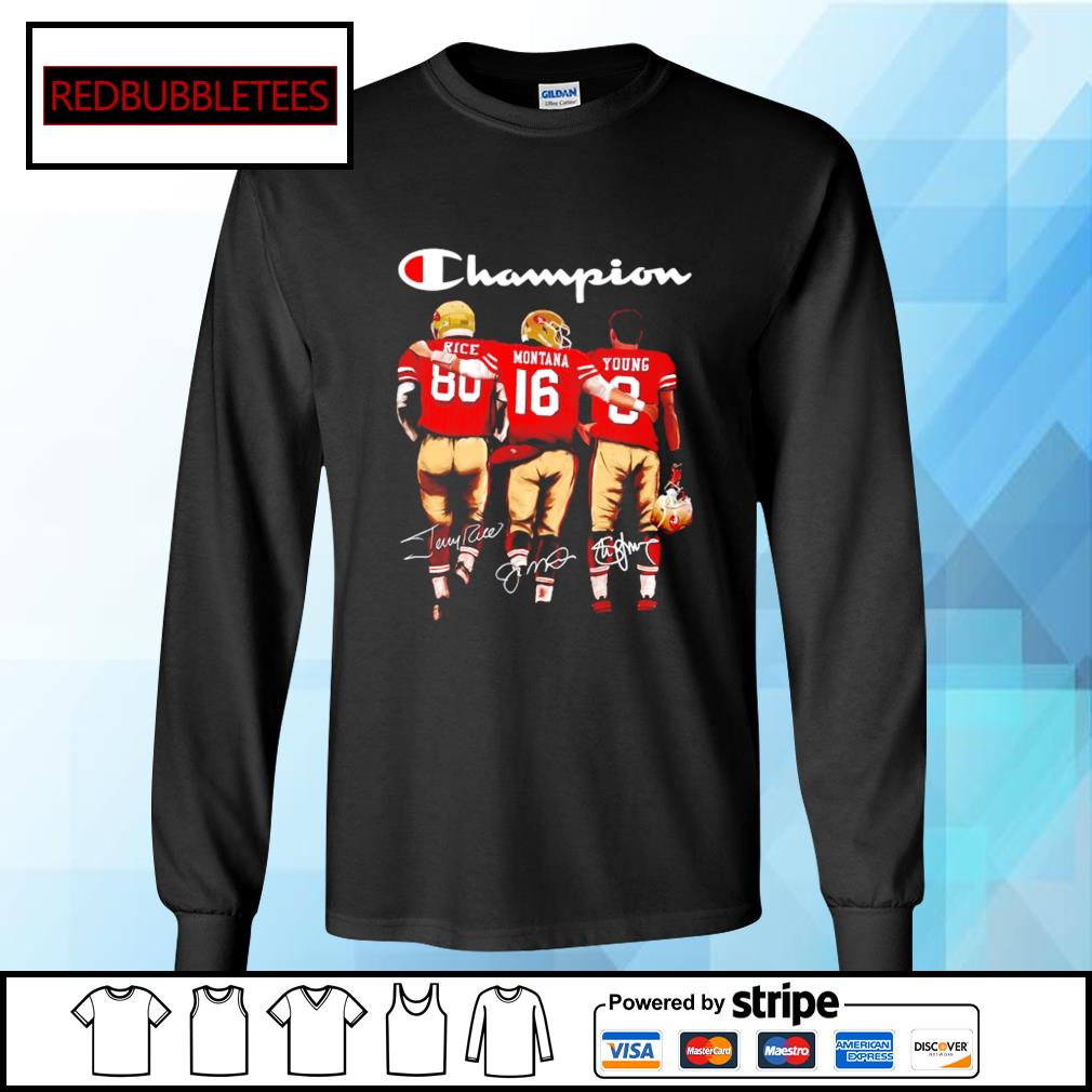 San Francisco 49ers Champion Rice Montana Young signatures s Longsleeve-tee