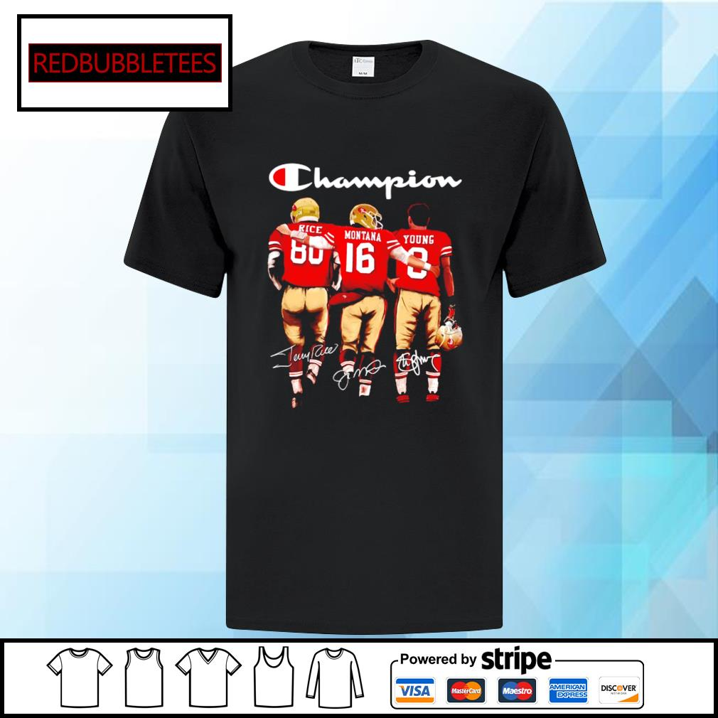 San Francisco 49ers Champion Rice Montana Young signatures shirt