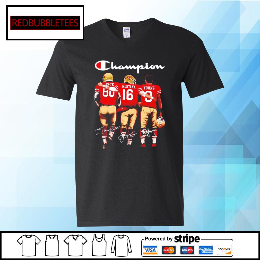San Francisco 49ers Champion Rice Montana Young signatures s V-neck T-shirt