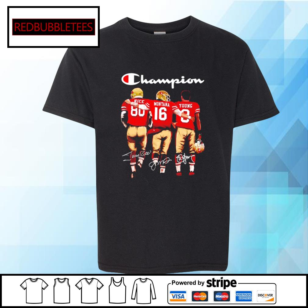 San Francisco 49ers Champion Rice Montana Young signatures s Youth-tee