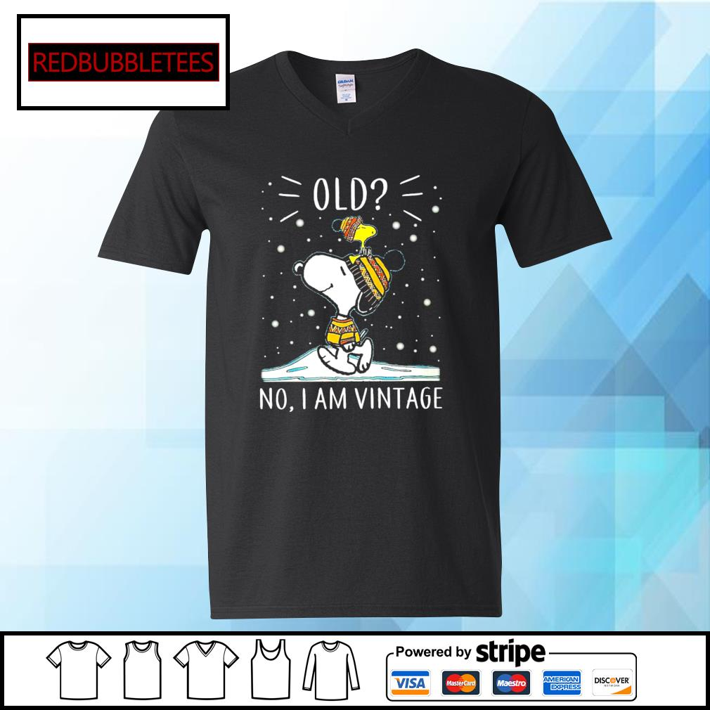Snoopy and Woodstock old no I am vintage s V-neck T-shirt