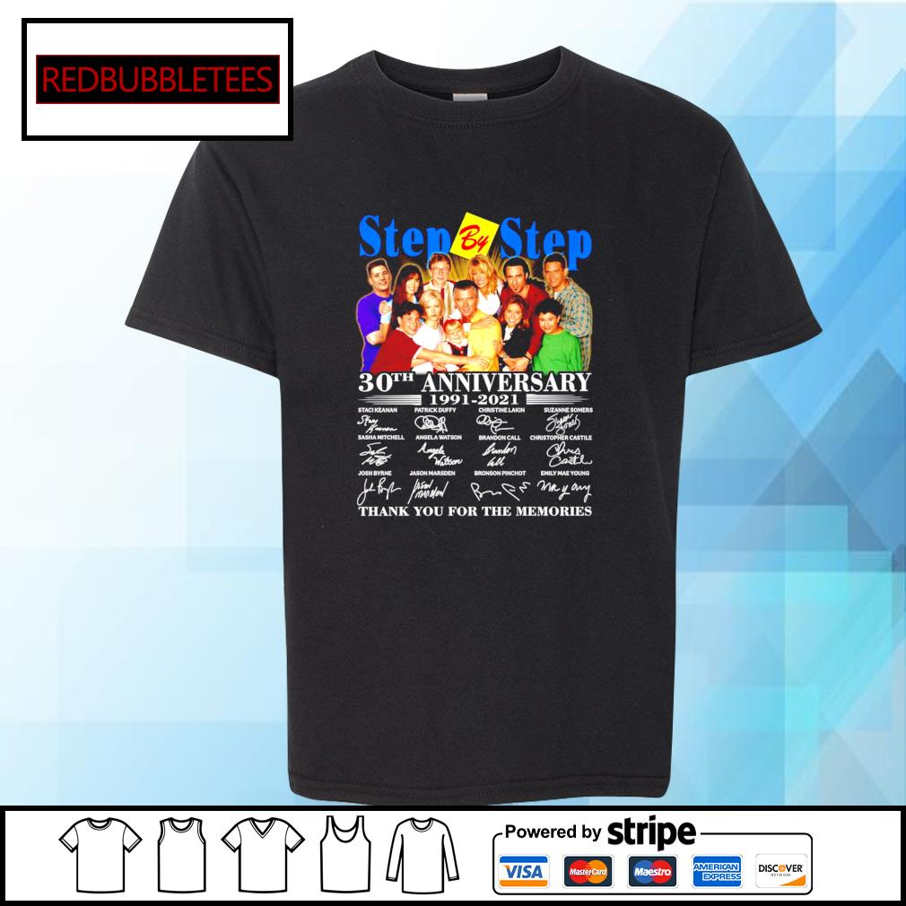 Step By Step 30Th anniversary 1991-2021 signature thank you for the memories s Youth-tee