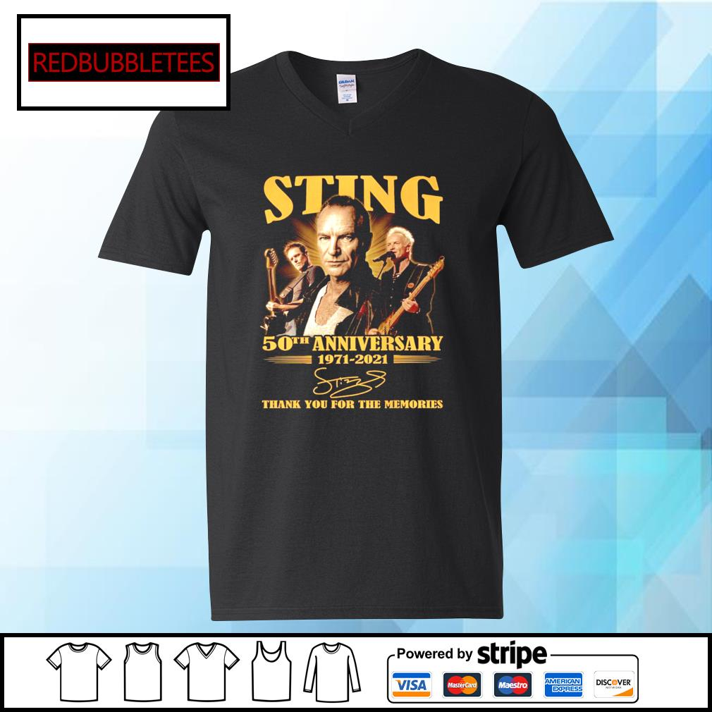 Sting 50Th anniversary 1971-2021 signature thank you for the memories s V-neck T-shirt