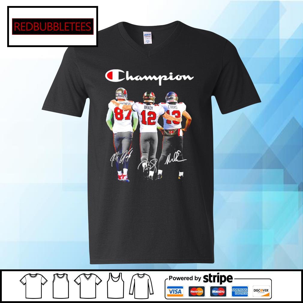 Tampa Bay Buccaneers Rob Gronkowski Tom Brady Mike Evans champion signature s V-neck T-shirt
