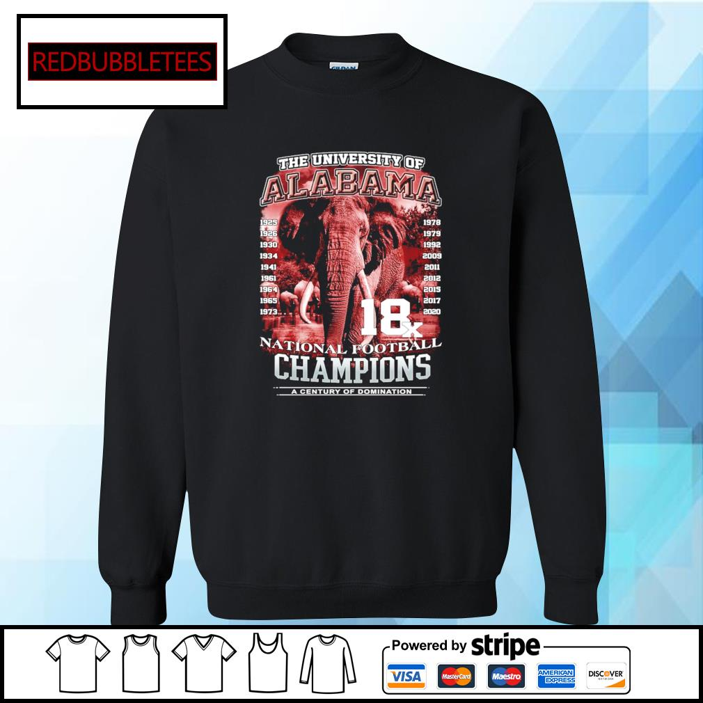 The university of Alabama 1925-2020 National Football Champions A Century Of Domination s Sweater