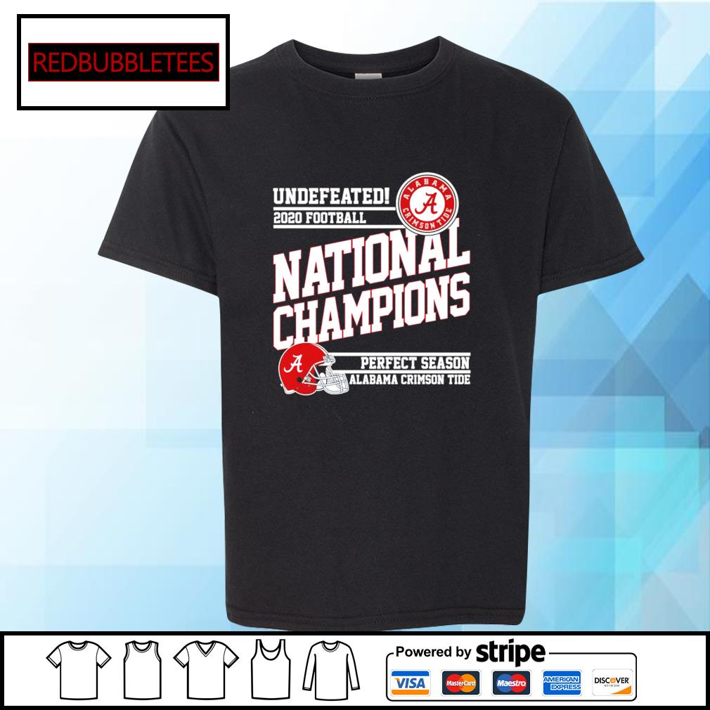 Undefeated 2020 football Alabama Crimson Tide national champions perfect season s Youth-tee