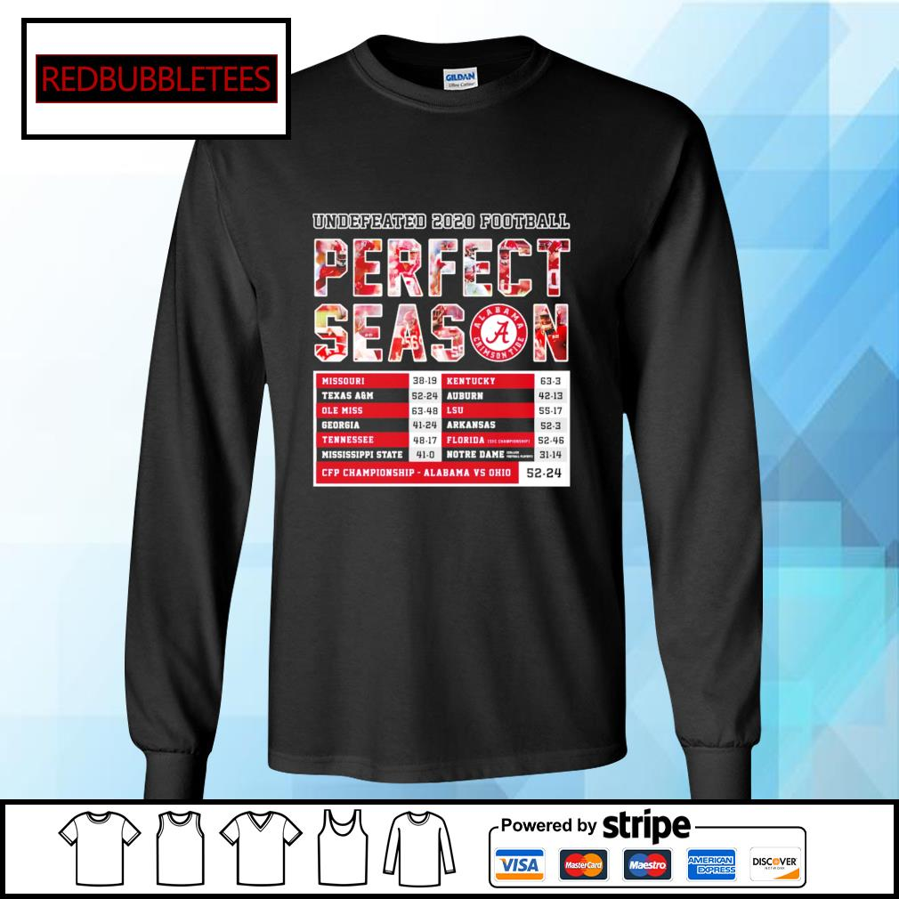 Undefeated 2020 Football Perfect Season CFP Championship Alabama 52 24 Ohio s Longsleeve-tee