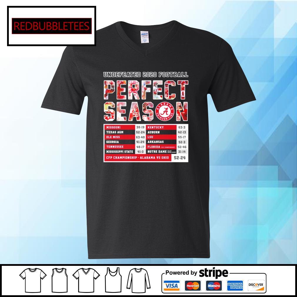 Undefeated 2020 Football Perfect Season CFP Championship Alabama 52 24 Ohio s V-neck T-shirt