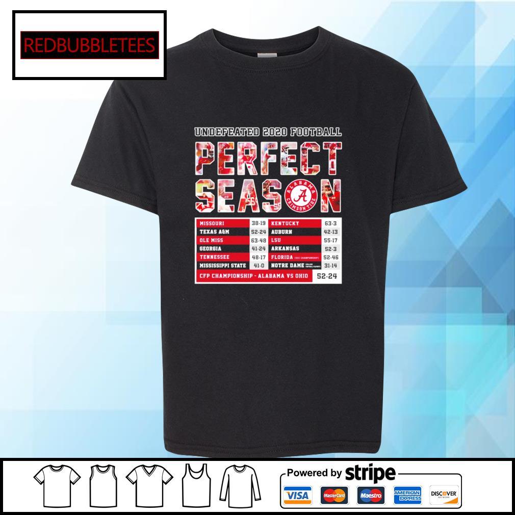 Undefeated 2020 Football Perfect Season CFP Championship Alabama 52 24 Ohio s Youth-tee